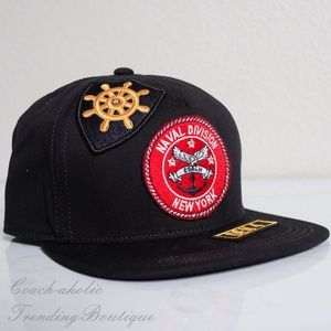 NWT Coach Flat Brim Hat with Patches